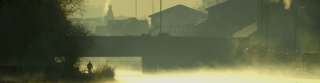 A cold morning view along the Lee Navigation canal near Homerton Road bridge. 2007