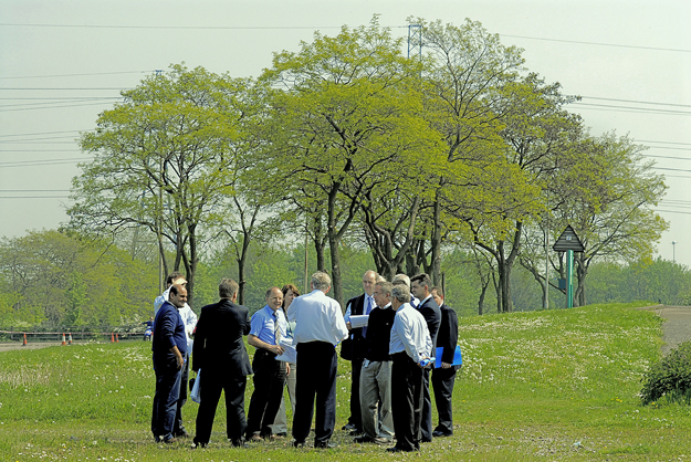 Senior management from one of the consortiums bidding for the overall Olympic Delivery Partner contract on a site visit near the Lea Valley Cycle circuit. May 2006