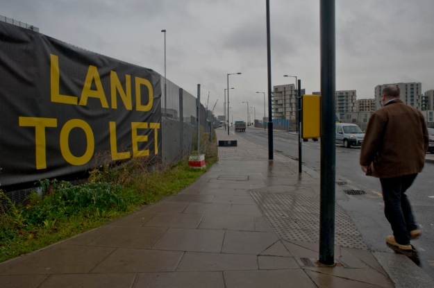 Looking towards the 'Athletes Village' from the east side of the Olympic Park. Dec 2013