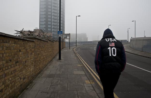 Stratford dreamer in a fog. Angel Lane. Feb 2014