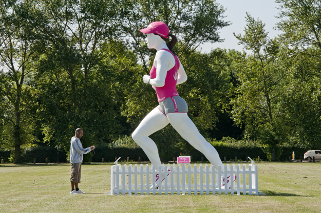 "Statue of Vitality. Half Marathon, Hackney Marsh June 2014. "" We were the first insurer in the UK to put healthy living at the core of our products with our Vitality programme. With Vitality, we make it cheaper and easier to get healthy through discounts and motivating rewards."" Vitality"