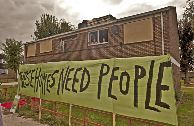 Focus E15 Mums group occupy an empty house on the Carpenters Estate, Stratford Sept 2014