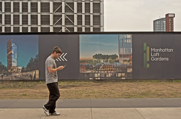 Right next to Stratford International railway station the hoarding marks the site where the developer Harry Handelsman intends to start building his 42 storey upmarket apartment block